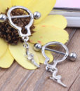 Pair Of Bar Type Nipple Body Piercing Jewelry With Tiny Revolver Dangle