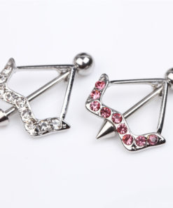 Cupid's Bow & Arrow Nipple Body Jewelry With Rhinestone Crystals