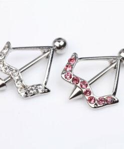 Cupid's Bow & Arrow Nipple Body Jewelry With Rhinestone Crystals