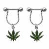 Steel Bar Nipple Fashion Jewelry With Weed Leaf Shaped Dangle Pendant