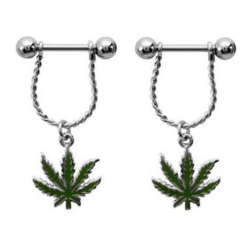 Steel Bar Nipple Fashion Jewelry With Weed Leaf Shaped Dangle Pendant