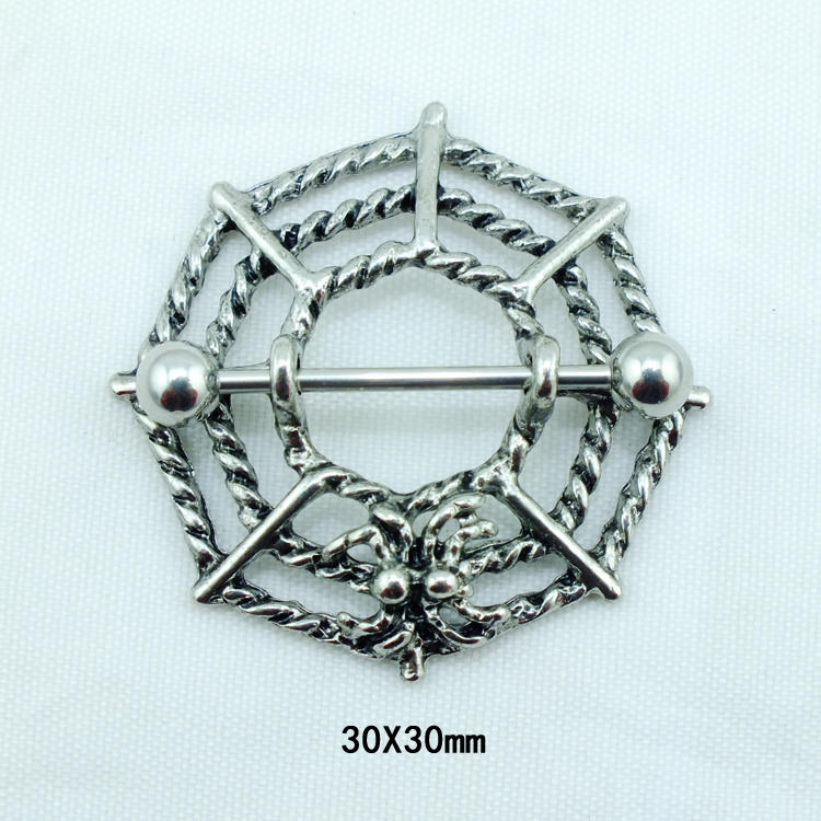 Gothic Spider Web Surgical Steel Barbell Nipple Ring Jewelry-8956