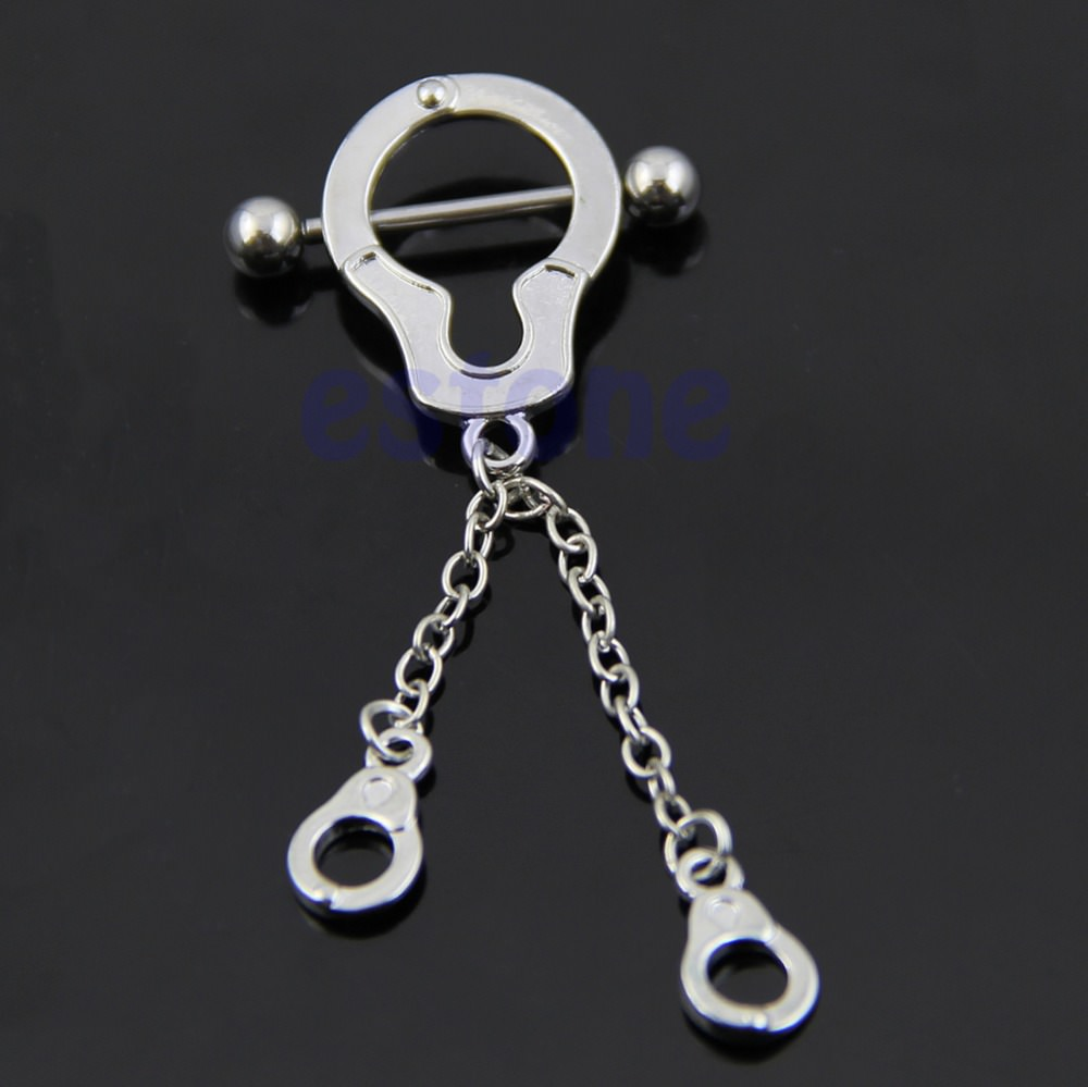 Stainless Steel Bar Nipple Or Belly Ring With Chained Handcuff Dangle