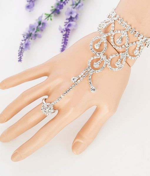 Elegant Rhinestone Chain Jewelry With Dangles