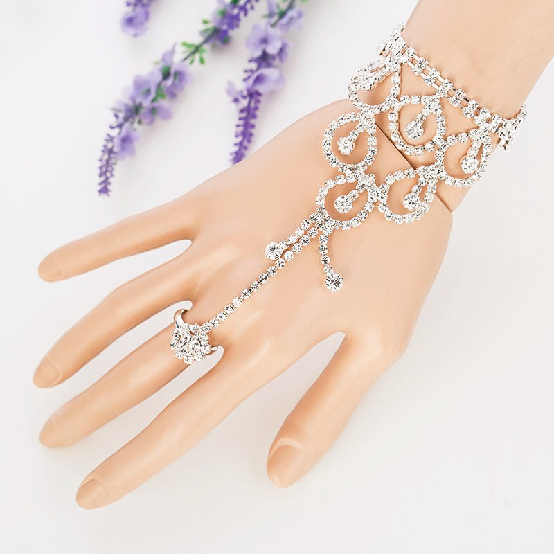 Elegant Rhinestone Chain Jewelry With Dangles