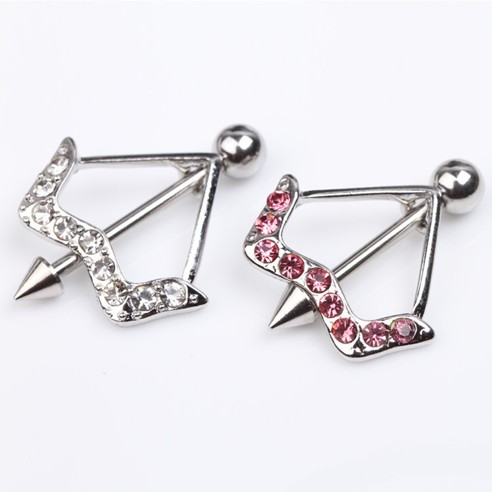 Pair of bow and arrow nipple bars rings shields with pink cz 16mm 10mm cupid