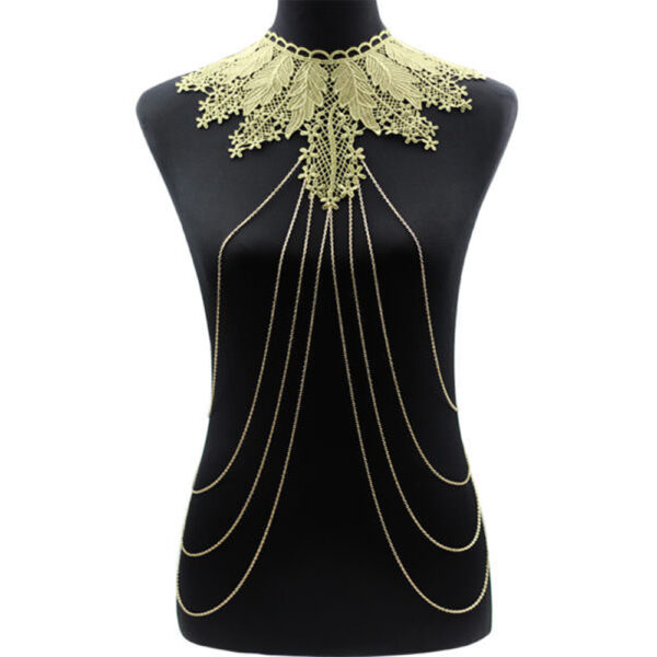 3498538c0c3ed Elegant Party Gold  Black Lace Necklace With Body Chain