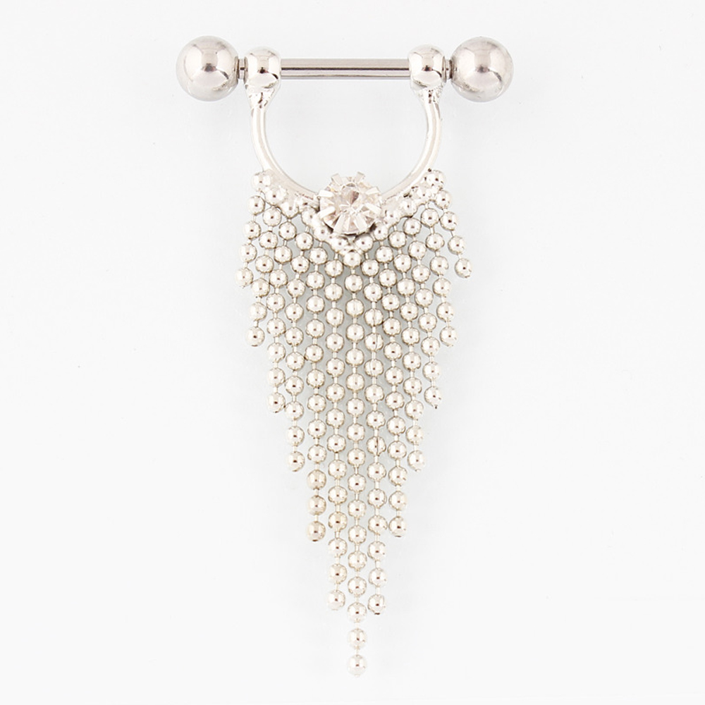 Pair Of Surgical Steel Bar With Tassel Dangle Jewelry For -8862