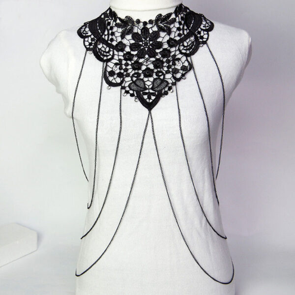 cf625251f3cf5 Sexy Body Chain Women Necklaces Pendants Black Lace Tassel Punk Long  Necklace 2016 New Designer Flower Collares Fashion Jewelry