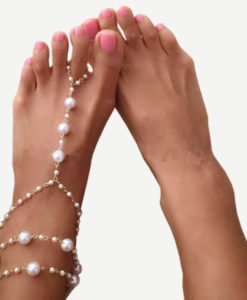 Sophisticated-Bridal-Pearl-Chain-Anklet-Bracelet-247x300 Body Chain Store