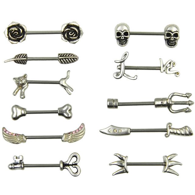Stainless-Steel-Nipple-Ring-Piercing-Barbell-Body-Jewelry-Sparrow-Cat-Skull-Rose-Key-Arrow-14g.jpg_640x640 Stainless Steel Barbell Nipple Body Jewelry In Various Retro Designs
