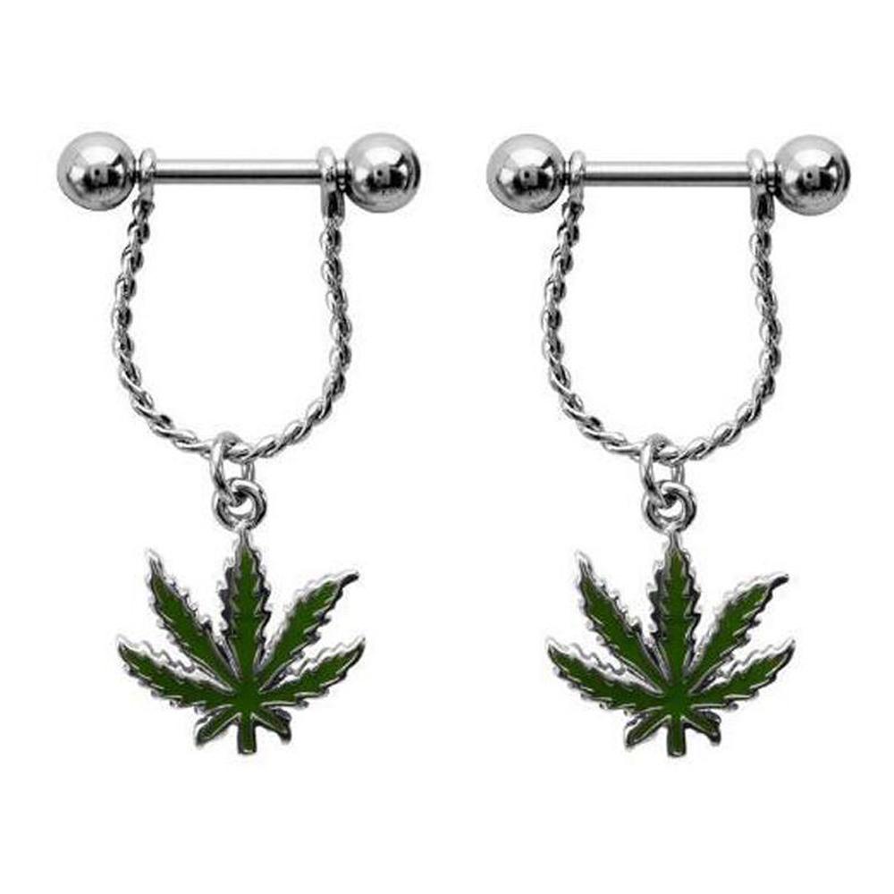 Steel Bar Nipple Fashion Jewelry With Leaf Shaped Dangle