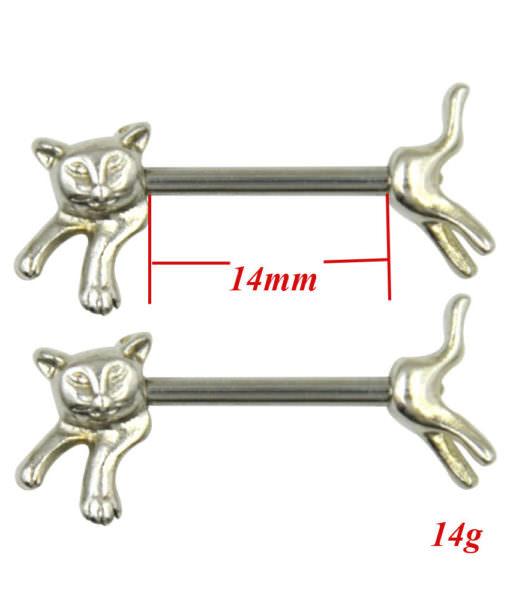 pair-of-cute-cat-nipple-rings Stainless Steel Barbell Nipple Body Jewelry In Various Retro Designs