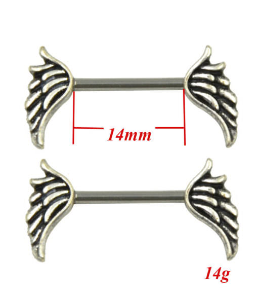 winged-nipple-ring-jewelry Stainless Steel Barbell Nipple Body Jewelry In Various Retro Designs