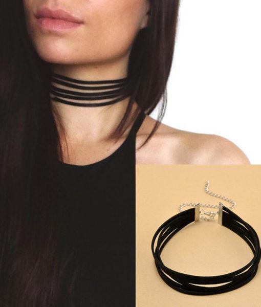 Black Velvet Stripes Retro Choker Necklace