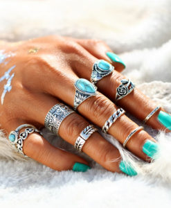 10-Pieces-Vintage-Tibetan-Turquoise-Knuckle-Ring-Set-For-Women-–-2-Colors-247x300 Latest on Sale