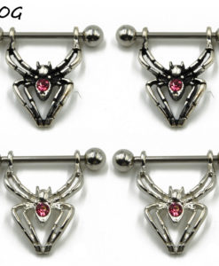 1-Pair Zinc Alloy Creepy Crawlers Spider Barbell Nipple Ring Piercing Jewelry - 2 Colors