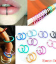 3-in-1 Two Pieces Clip On Hoop Nose Lip Ear Rings - 10 Colors
