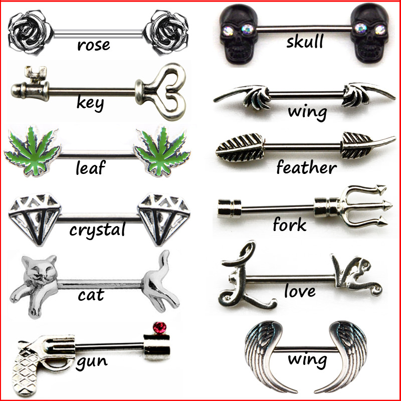 Unique Steel Barbell Bar Piercing Nipple Rings (1 Pair) - 12 Styles