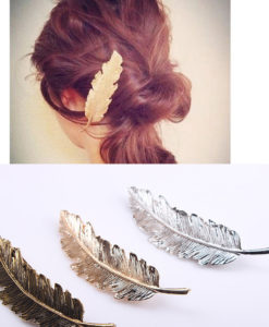 Shiny Alloy Metal Feather Statement Hair Clip For Women - 3 Colors