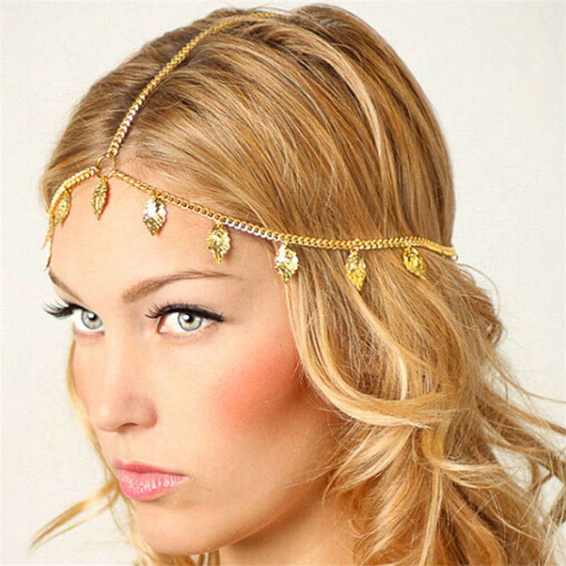 Bohemian Metal Gold Color Head Chain Hair Jewelry For Women 8