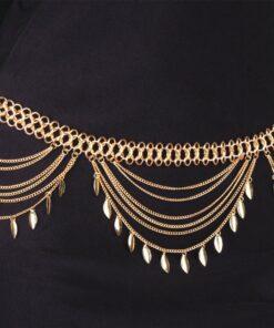 Golden Turkish Gypsy Belly Dancing Leaf Tassel Belly Chain For Women