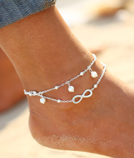 Boho White Faux Pearls Infinity Ankle Bracelet Sexy Foot Jewelry For Women - 2 Colors