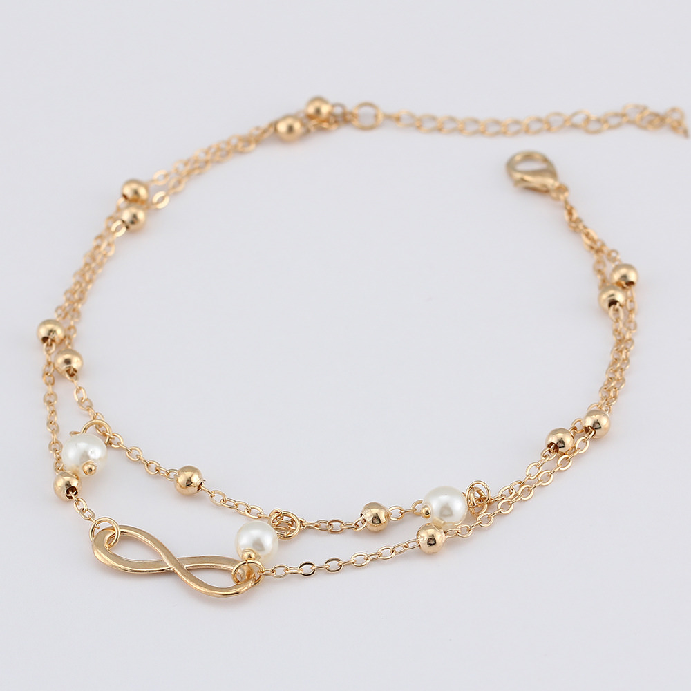 expandable bridal leg gold vintage anklets gift jewelry plated beads platinum anklet bracelet chain wihte womens store cube product ankle pendant foot white