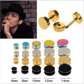 5 Size Stainless Steel Ear Plug Stud Stretcher Ear Rings - 4 Colors