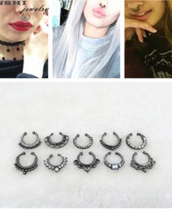 Trendy Women Black Alloy Clicker Septum Nose Ring Jewelry - 10 Styles