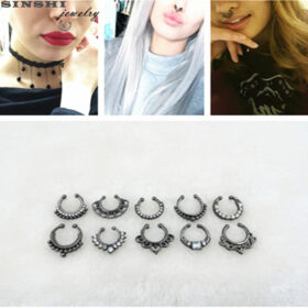 Trendy Women Black Alloy Clicker Septum Nose Ring Jewelry - 10 Styles