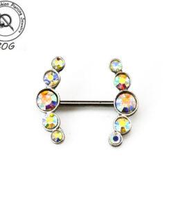 BOG-Pair 316L Surgical Steel With CZ gem Nipple Ring Piercing Barbells