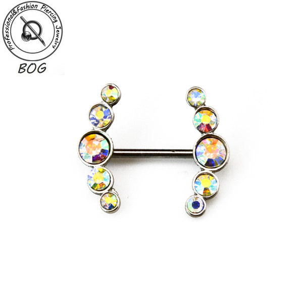 BOG-Pair 316L Surgical Steel With CZ gem Nipple Ring Piercing Barbells