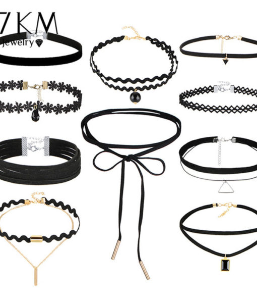 Stylish Gothic Tattoo Leather Velvet Lace Choker Necklace For Women - 10 Styles