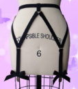 Sexy Goth Black Bow Harness Style Stockings Garter Belt Lingerie For Women