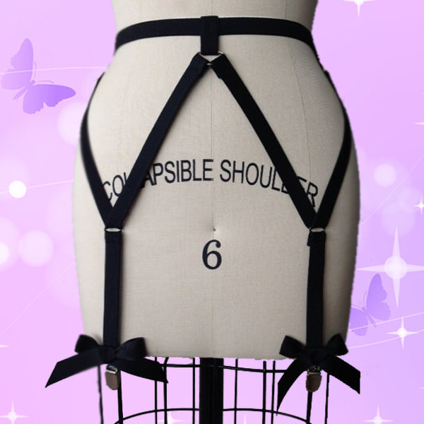Sexy Goth Black Bow Harness Style Stockings Garter Belt Lingerie For Women