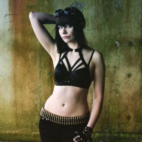 Black Halter-Style Goth Elastic Lingerie Cupless Bra