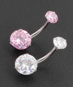 Pretty Zircon Jewel Prong Style Belly Button Ring - 2 Colors