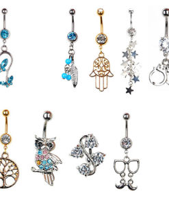 Chic Rhinestone Inlaid Drop Dangle Navel Ring Jewelry For Women - 9 Styles