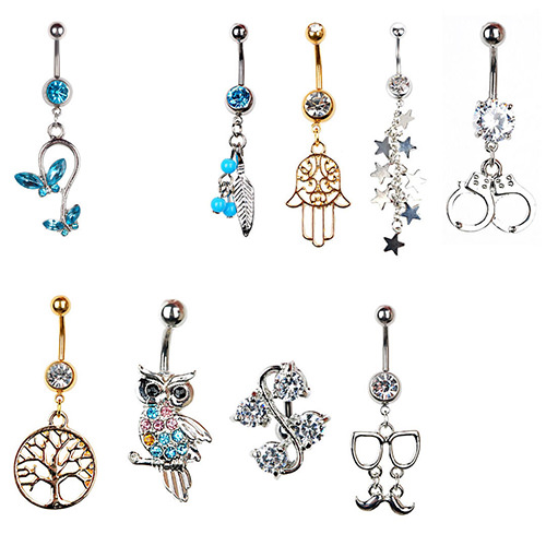 Chic Rhinestone Inlaid Drop Dangle Navel Ring Jewelry For Women - 9 Styles