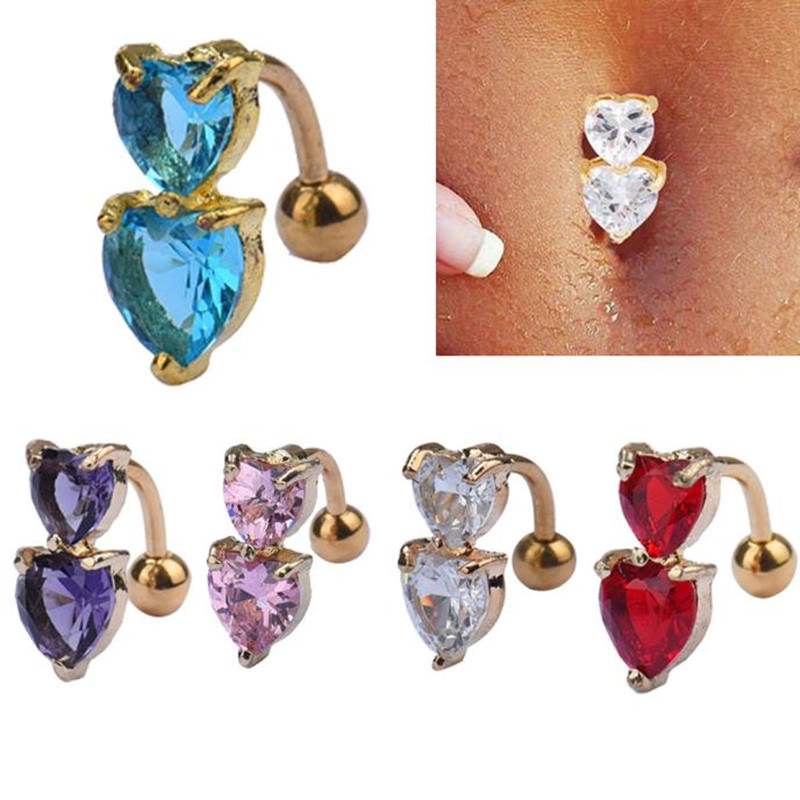 Two Heart Crystal Bar Reverse Style Golden Belly Button Ring For Women - 5 Colors