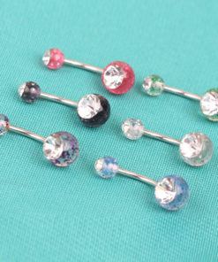 Precious Women Glitter Crystal Navel Ring Body Piercing Jewelry - 7 Colors