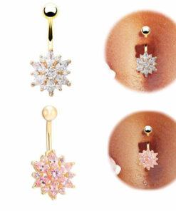 Crystal Rhinestone Press Button Flower Pendant Navel Ring - 2 Colors