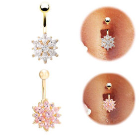 Crystal Rhinestone Press Button Flower Pendant Navel Ring - 2 Colors