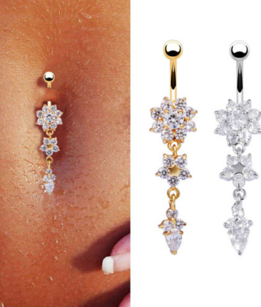 Pretty CZ Crystal Flower Body Jewelry Belly Button Dangle Drop Ring