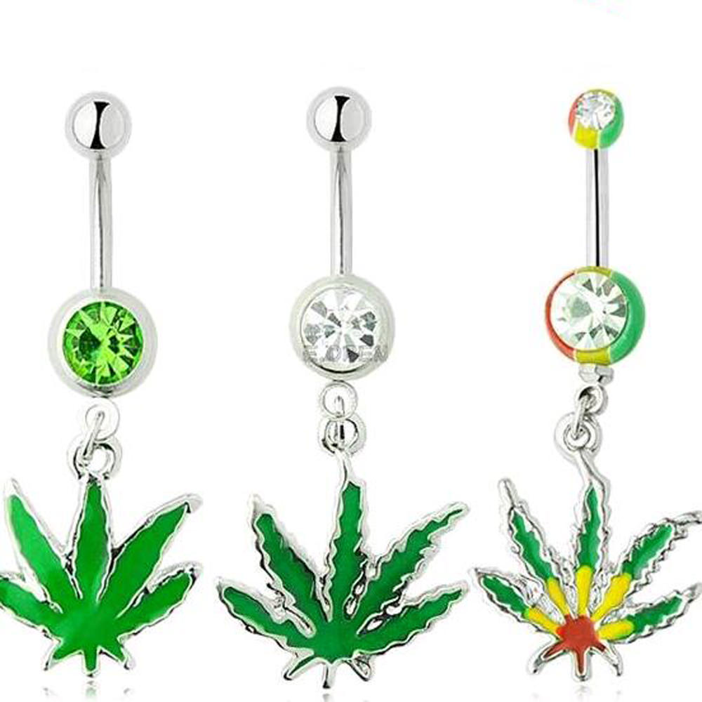 Sexy Rhinestone Ball Green Leaf Dangle Navel Ring - 3 Styles