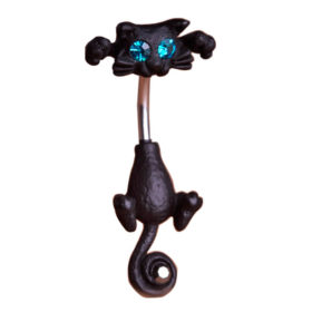 Bejeweled Cat Body Piercing Belly Button Ring Jewelry - 3 Colors