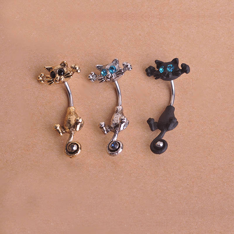 Bejeweled cat body piercing belly button ring jewelry 3 for Belly button jewelry store