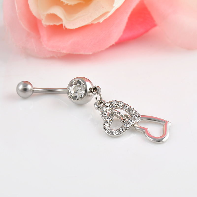 Stunning Silver Crystal Double Hearts Dangle Navel Ring