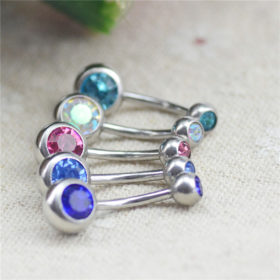 Charming Gem-Studded Silver Bar Ball Navel Button Ring For Women - 10 Colors